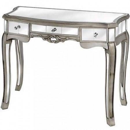 MAOG101 - Masa toaleta oglinda, 91 cm, cosmetica machiaj masuta vanity birou, Argintiu