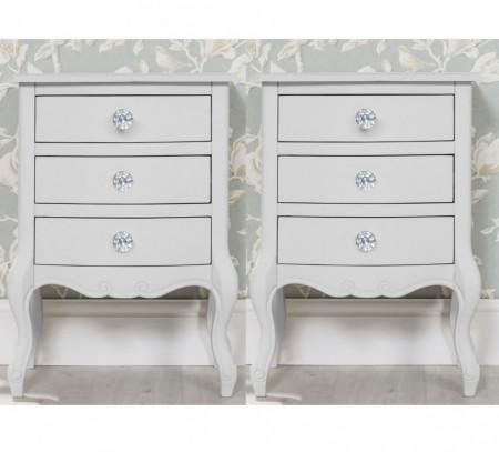 NOA102 - Set 2x noptiere albe cu 3 sertare, manere tip cristal - Colectia Genova