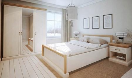 NOC501 - Set 2 Noptiere crem cu 1 sertar pentru dormitor
