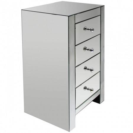 NOOG203 - Noptiera oglinda inalta, 45 cm, pentru dormitor cu 4 sertare - Argintiu