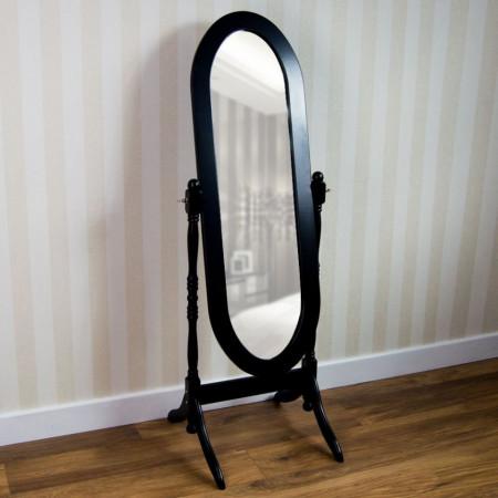 OGN106 - Oglinda neagra ovala dormitor cu picior