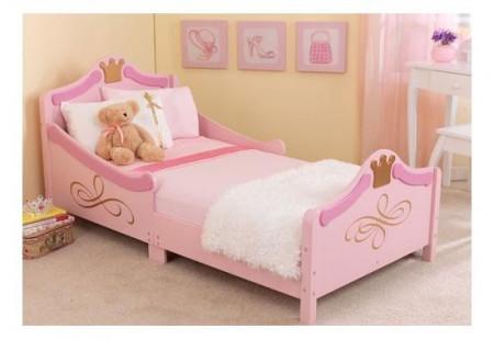 PARC1 - Pat roz pentru printese - patut lemn copii, fetite