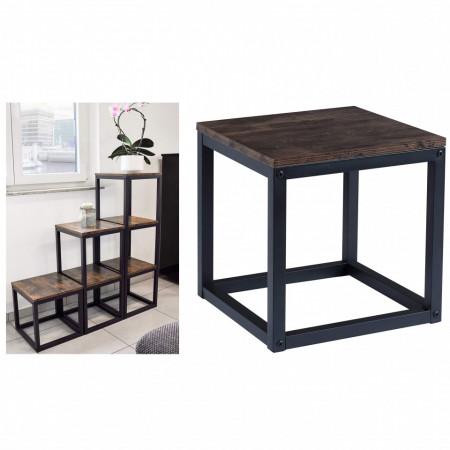 RAI223 - Rafturi de tip Cub 35 cm, la alegere numarul de cuburi, pentru living, birou, hol, biblioteca stil industrial - Maro