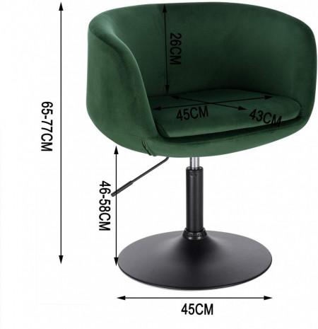 SCA218 - Scaun tapitat Verde catifelat pentru masa toaleta, birou, bar, lounge, inaltime reglabila