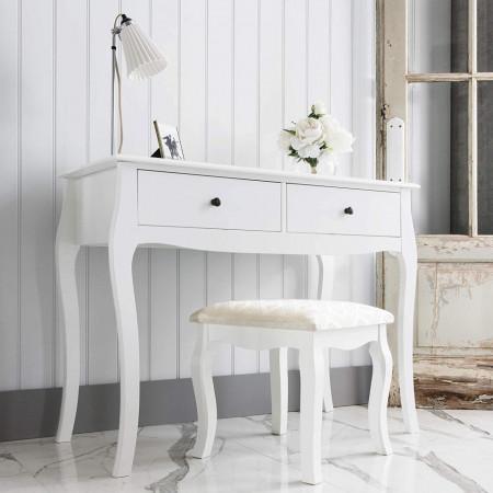 SEA158 - Set Masa alba toaleta, 100 cm, cosmetica machiaj, masuta vanity, scaunel, taburet tapitat - Lisabona