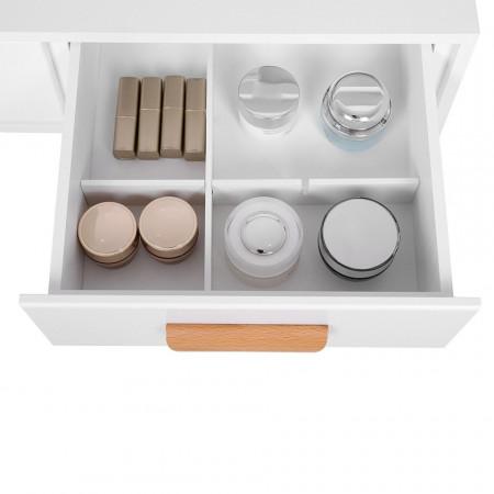 SEA241 - Set Masa alba toaleta cosmetica machiaj oglinda masuta vanity, scaunel, taburet tapitat