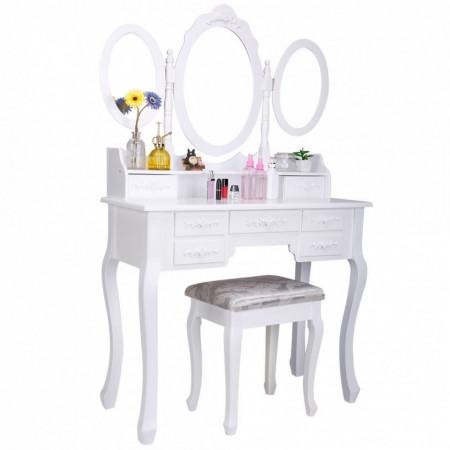 SEA400 - Set Masa alba toaleta cosmetica machiaj oglinda masuta vanity cu scaunel taburet tapitat