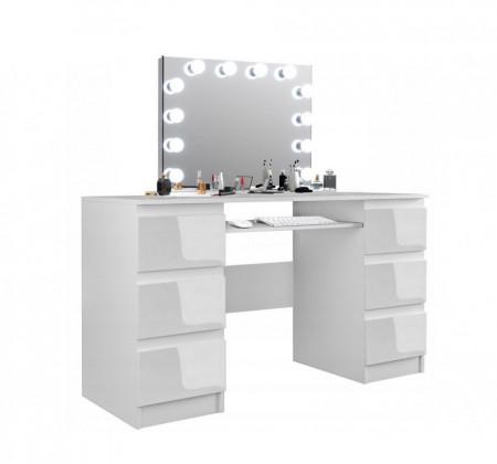 SEA535 - Set Masa toaleta, 130 cm, cosmetica machiaj, masuta vanity, oglinda cu LED-uri - Alb Lucios