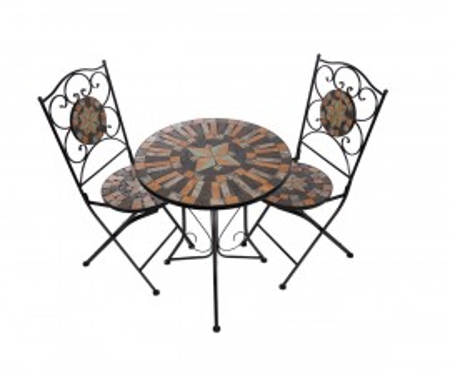 SEGM205 - Set Masa si scaune pliante Mozaic gradina, terasa, balcon - Maro