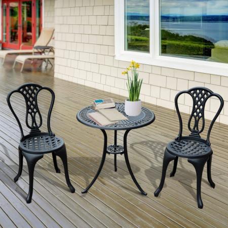 SEGN104 - Set Masa si 2 scaune gradina, terasa, balcon - Negru