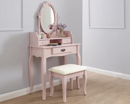 SER106 - Set Masa toaleta, 76 cm, cosmetica machiaj, masuta cu oglinda si scaunel, taburet tapitat - Roz