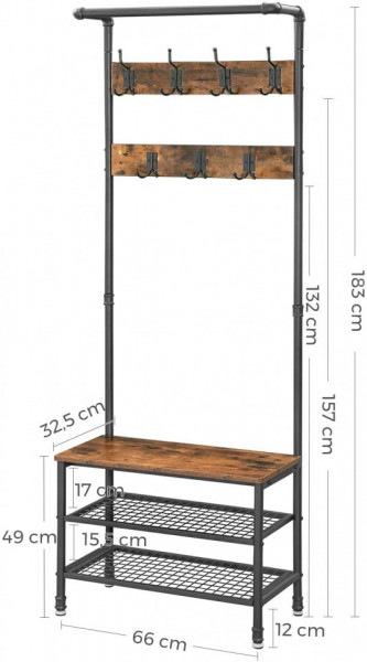 CUII202 - Cuier industrial 66 cm, 7 agatatori haine, chei, hol, rafturi pantofi, pantofar - Maro