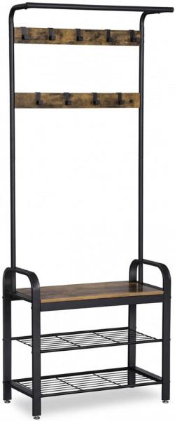 CUII203 - Cuier industrial 72 cm, 9 agatatori haine, chei, hol, rafturi pantofi, pantofar - Maro sau Gri