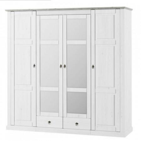 DUA602 - Dulap 219 cm pentru dormitor, sifonier cu 4 usi - Alb