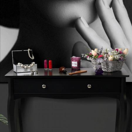 MAN601 - Masa toaleta, 80 cm, consola cosmetica machiaj masuta vanity make-up cu raft pentru hol - Negru