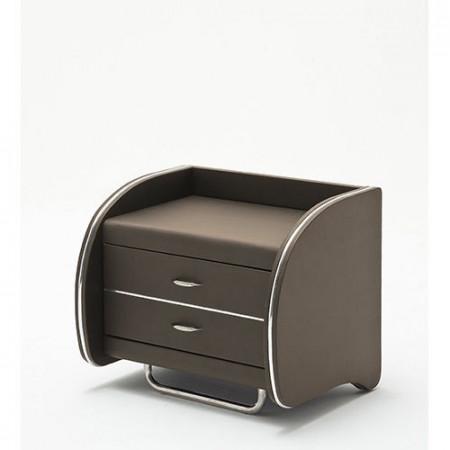 NOM204 - Noptiera maro capitonata cu 2 sertare pentru dormitor - Piele ecolegica