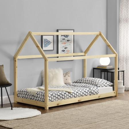 PAAC1 - Pat casuta pentru 1 persoana, dormitor copii - 90 x 200 cm - Alb sau Maro