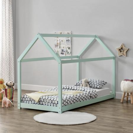 PAAC3 - Pat casuta pentru 1 persoana, dormitor copii - 90 x 200 cm - Gri, Albastru, Roz, Mint