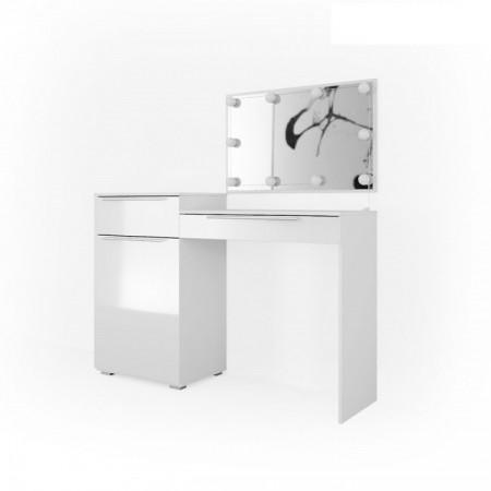 SEA258 - Set Masa alba toaleta cosmetica machiaj, oglinda cu LED, masuta vanity