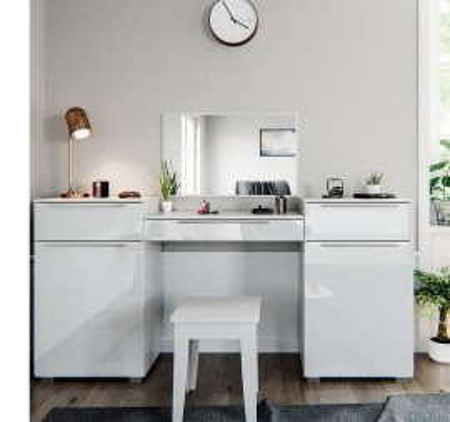 SEA315 - Set Masa alba toaleta moderna cosmetica machiaj oglinda masuta vanity