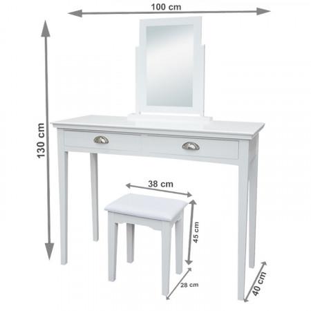 SEA606 - Set Masa toaleta, 100 cm, consola cosmetica machiaj masuta vanity make-up cu oglinda si scaun tapitat- Alb
