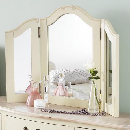 SEC52 - Set Masa toaleta cosmetica machiaj oglinda masuta - Crem /Cafeniu