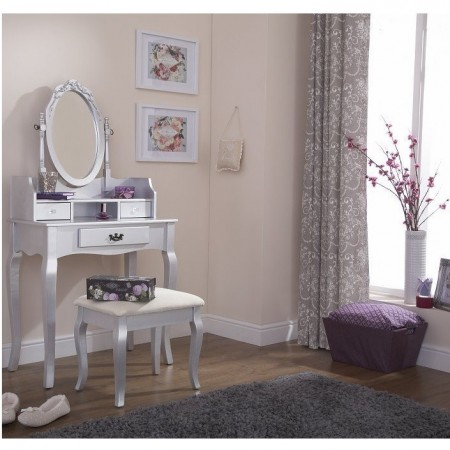 SEG104 - Set Masa Argintie toaleta cosmetica machiaj oglinda masuta, scaun, taburet tapitat