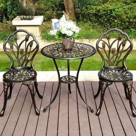 SEGM106 - Set Masa si scaune gradina, terasa, balcon, veranda - Negru antichizat Bronz