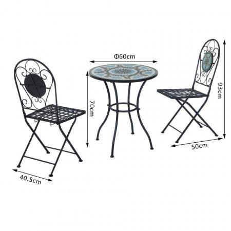 SEGV101 - Set Masa si scaune pliante Mozaic gradina, terasa, balcon - Verde-Albastru
