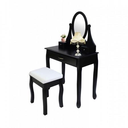 SEN217 - Set Masa neagra toaleta cosmetica machiaj oglinda masuta, scaun taburet tapitat vanity, make-up