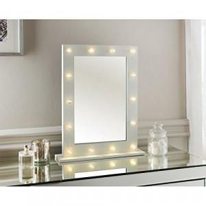 OGA118 - Oglinda masuta de toaleta cu 14 leduri cu lumina calda, dormitor - Alba