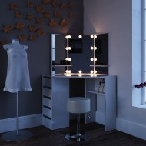 SEA255 - Set Masa alba toaleta cosmetica machiaj oglinda cu LED, masuta vanity pe colt