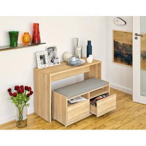 SEM601- Set Masa toaleta, 120 cm, consola cosmetica machiaj masuta vanity make-up cu bancuta - Maro