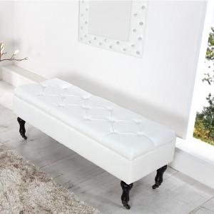 BAN227 - Bancuta cu lada 110 cm, banca pentru living, dormitor sau hol - Alba imitatie de piele sau Argintie/Neagra textil
