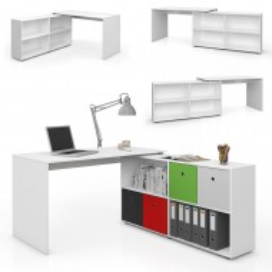 BIA205 - Masa de Birou, office pe colt cu rafturi - Alb