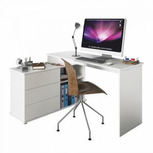 BIA601 - Masa de Birou 138 cm, pentru colt, reversibil (stanga sau dreapta) office - Alb
