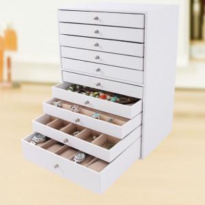 CJA201 - Cutie cutiuta bijuterii, depozitare ceasuri, 9 sertare, imitatie piele - Alb