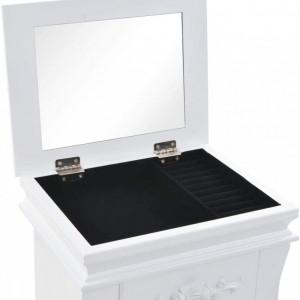 CJA206 - Cutie, caseta bijuterii inata cu oglinda, depozitare - Alb