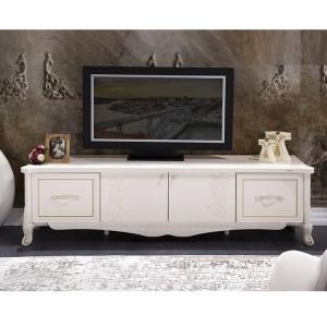 COA13 - Comoda TV, 194 cm, pentru televizor, 2 dulapuri si  2 sertare - Alb fildes lucios