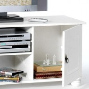 COA205 - Comoda TV, dulap cu 2 dulapuri si raft, dormitor, living - Alb