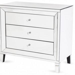 COOG501 - Comoda oglinda, dulap cu 3 sertare, dormitor, living - Argintiu