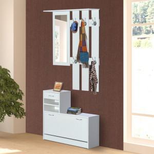 CUI208 - Cuier Alb, 6 agatatori haine din metal, chei hol, lazi pantofi, pantofare si oglinda