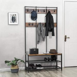CUII201 - Cuier industrial 100cm, 12 agatatori haine, chei, hol, rafturi pantofi, pantofar - Maro
