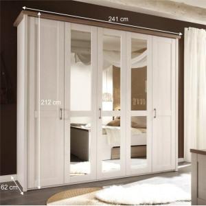 DUA601 - Dulap 241 cm pentru dormitor, sifonier cu 5 usi - Alb Pin