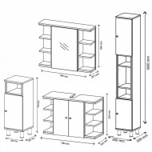 LILI202 - Mobilier Baie LILI: masca chiuveta, dulap oglinda, comoda ingusta, dulap inalt - Gri