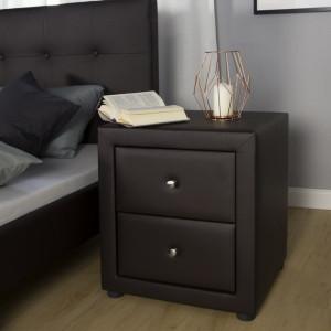 NOM201 - Set 2 Noptiere maro capitonate cu 2 sertare pentru dormitor - Piele ecologica