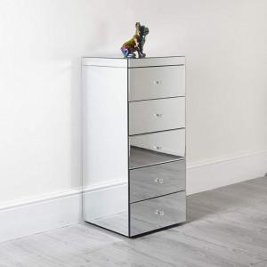 NOOG130 - Noptiera oglinda inalta pentru dormitor cu 5 sertare - Argintiu