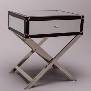 NOOG503 - Noptiera oglinda 50 cm, cu 1 sertar, dormitor - Oglinda - Argintiu