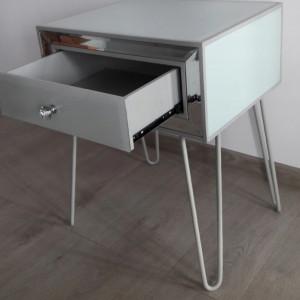 NOOG505 - Noptiera oglinda 50 cm, cu 1 sertar, dormitor - Oglinda - Argintiu-Alb