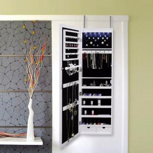 OGA109 - Oglinda caseta de bijuterii cu LED, dulap, dulapior perete dormitor, dressing - Alb